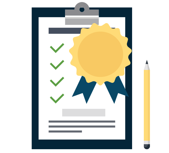 Icon of an audit with certificate and pencil
