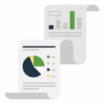 Icon of a report with charts and graphs